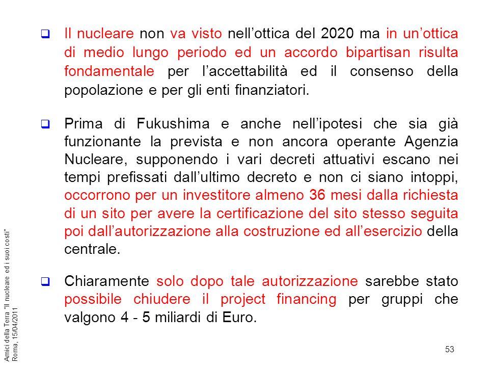 53 Amici della Terra Il nucleare ed i suoi costi Roma, 15/04/2011 Il nucleare non va visto nellottica del 2020 ma in unottica di medio lungo periodo e