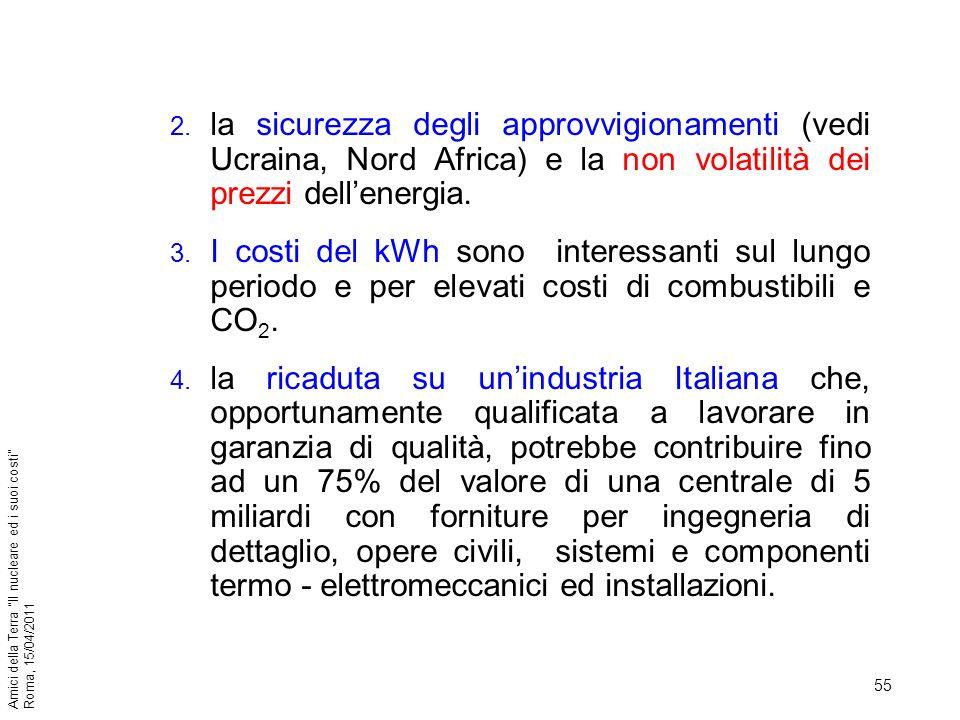 55 Amici della Terra Il nucleare ed i suoi costi Roma, 15/04/2011 2. la sicurezza degli approvvigionamenti (vedi Ucraina, Nord Africa) e la non volati