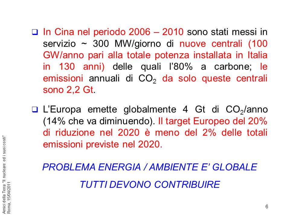 6 Amici della Terra Il nucleare ed i suoi costi Roma, 15/04/2011 In Cina nel periodo 2006 – 2010 sono stati messi in servizio ~ 300 MW/giorno di nuove
