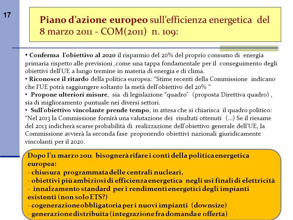 17 Piano dazione europeo sullefficienza energetica del 8 marzo 2011 - COM(2011) n. 109: Conferma lobiettivo al 2020 il risparmio del 20% del proprio c