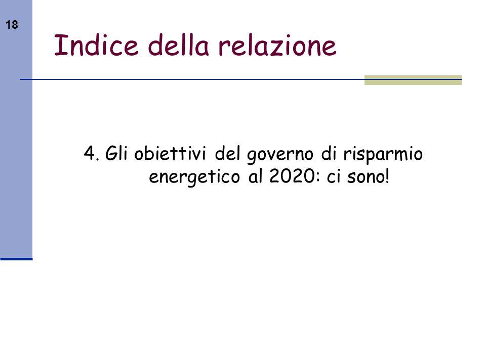 18 Indice della relazione 4. Gli obiettivi del governo di risparmio energetico al 2020: ci sono!
