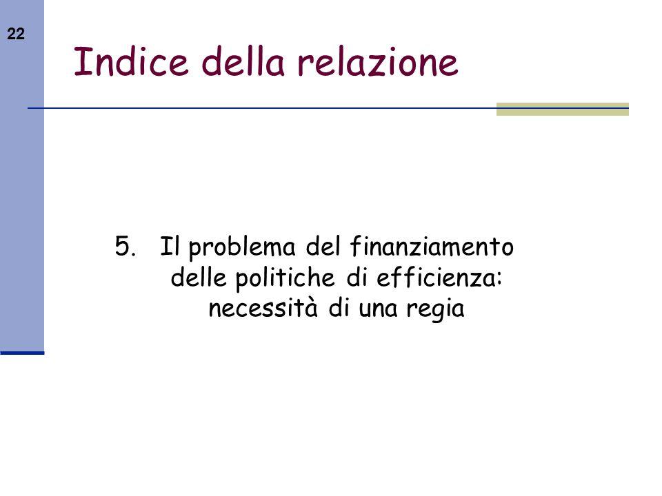 22 Indice della relazione 5. Il problema del finanziamento delle politiche di efficienza: necessità di una regia