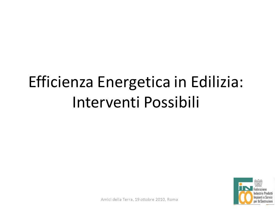 15 Amici della Terra, 19 ottobre 2010, Roma 15 Efficienza Energetica in Edilizia: Interventi Possibili