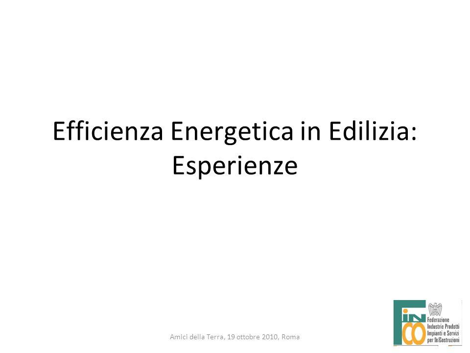 18 Amici della Terra, 19 ottobre 2010, Roma Efficienza Energetica in Edilizia: Esperienze 18