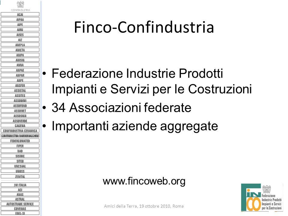 2 Amici della Terra, 19 ottobre 2010, Roma Finco-Confindustria Federazione Industrie Prodotti Impianti e Servizi per le Costruzioni 34 Associazioni fe