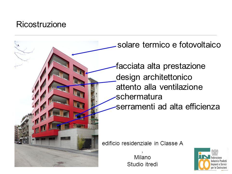 Ricostruzione edificio residenziale in Classe A, Milano Studio itredì solare termico e fotovoltaico facciata alta prestazione design architettonico at