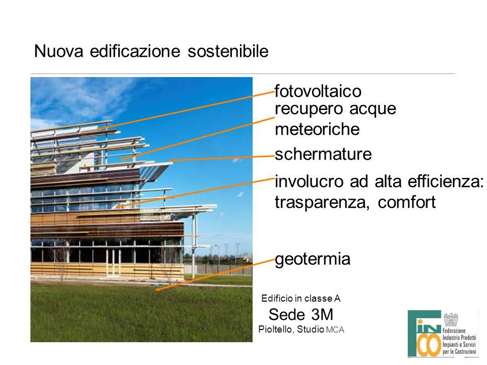 Nuova edificazione sostenibile Edificio in classe A Sede 3M Pioltello, Studio MCA fotovoltaico schermature involucro ad alta efficienza: trasparenza,