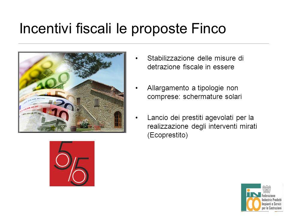 Incentivi fiscali le proposte Finco Stabilizzazione delle misure di detrazione fiscale in essere Allargamento a tipologie non comprese: schermature so