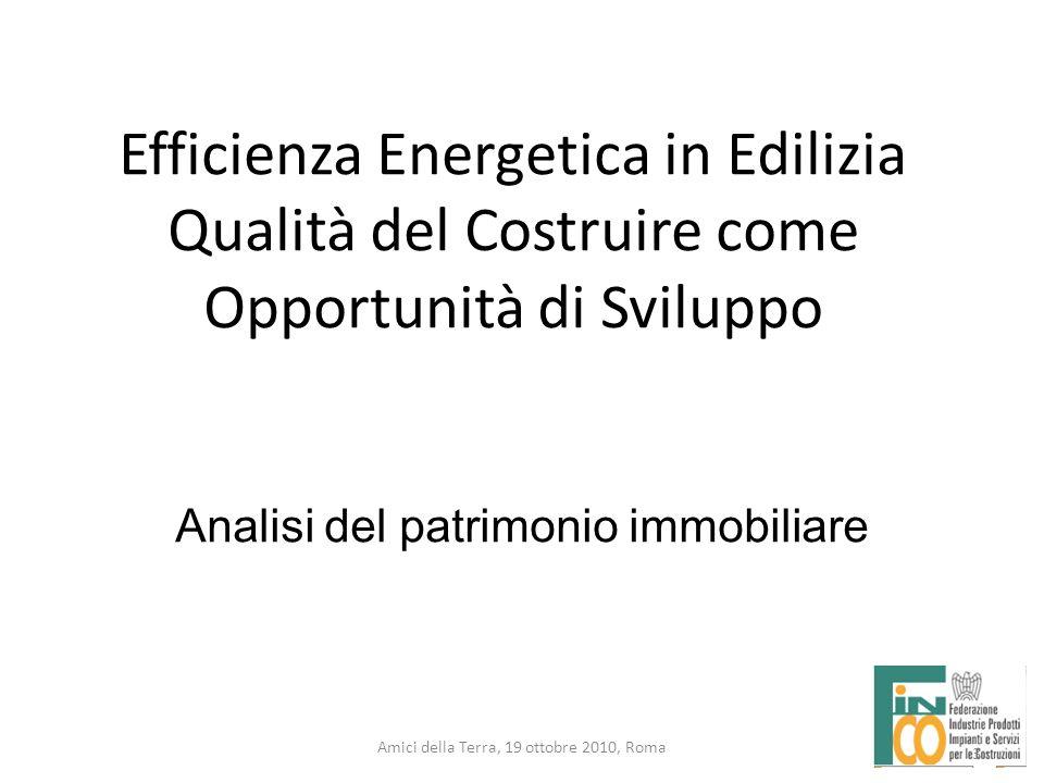3 Amici della Terra, 19 ottobre 2010, Roma 3 Analisi del patrimonio immobiliare Efficienza Energetica in Edilizia Qualità del Costruire come Opportuni