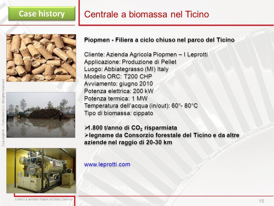 Copyright © – Turboden S.r.l. All rights reserved 18 Centrale a biomassa nel Ticino Case history Piopmen - Filiera a ciclo chiuso nel parco del Ticino