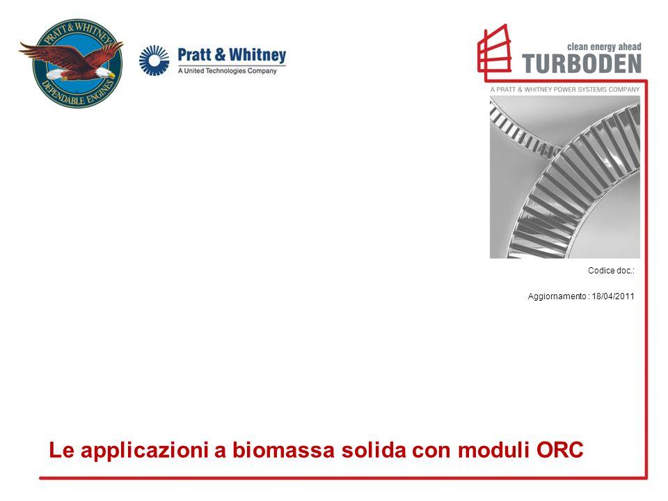 Codice doc.: Aggiornamento : 18/04/2011 Le applicazioni a biomassa solida con moduli ORC