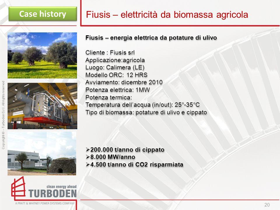 Copyright © – Turboden S.r.l. All rights reserved 20 Fiusis – elettricità da biomassa agricola Case history Fiusis – energia elettrica da potature di