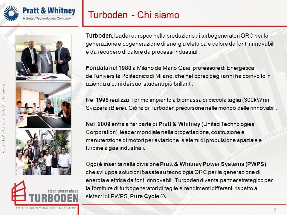Copyright © – Turboden S.r.l. All rights reserved Turboden - Chi siamo Turboden, leader europeo nella produzione di turbogeneratori ORC per la generaz