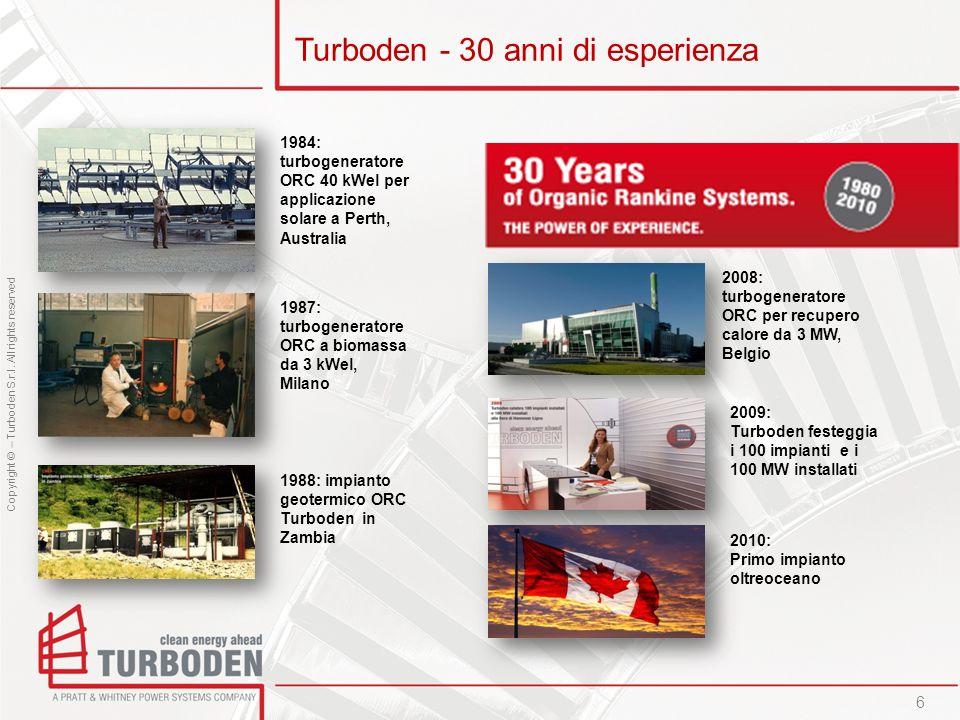 Copyright © – Turboden S.r.l. All rights reserved Turboden - 30 anni di esperienza 6 1984: turbogeneratore ORC 40 kWel per applicazione solare a Perth