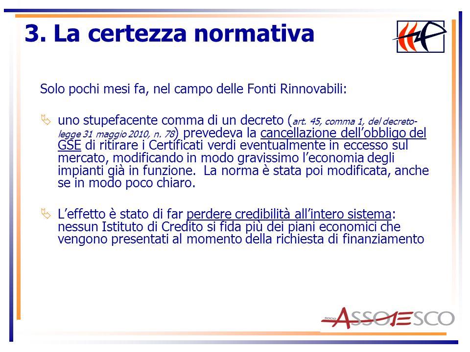 Solo pochi mesi fa, nel campo delle Fonti Rinnovabili: uno stupefacente comma di un decreto ( art. 45, comma 1, del decreto- legge 31 maggio 2010, n.