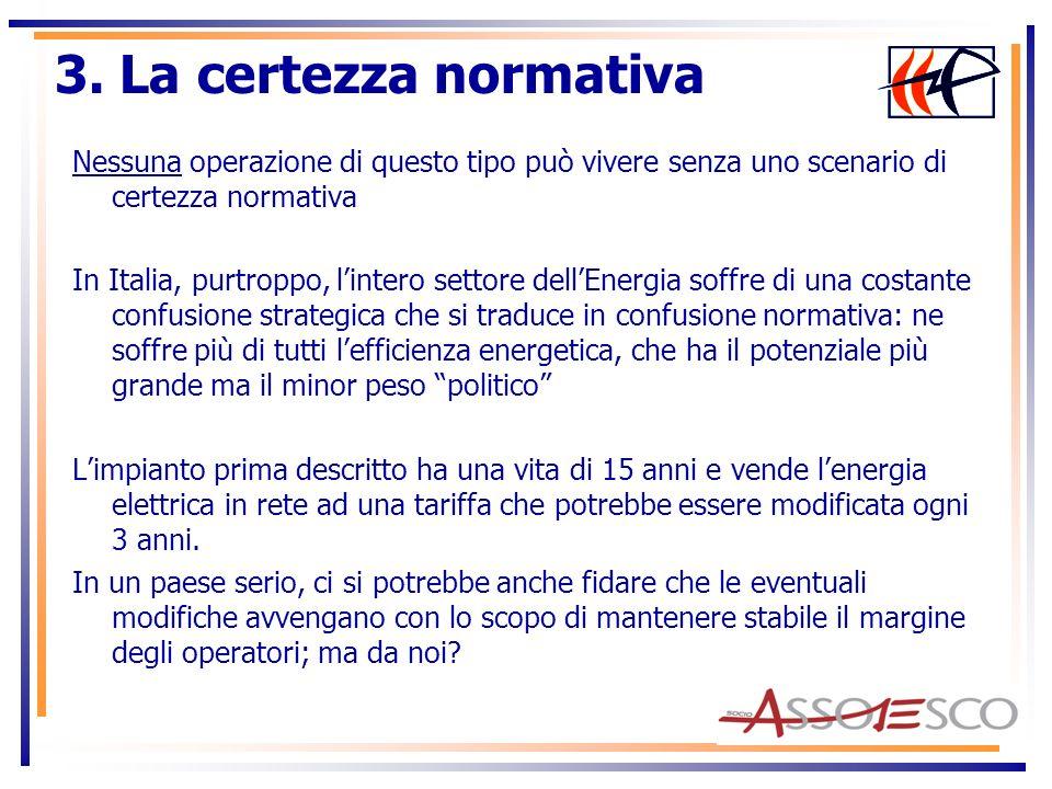 Da noi è un Luna Park: Nel campo della Cogenerazione: -Nel 2004 la Direttiva N.8 Cogenerazione strategica per lEuropa -Nel 2007 il Dlgs 20 recepisce (3 anni dopo) la Direttiva -Ad oggi, dopo quasi 4 anni, il Dlgs 20/07 manca dei decreti applicativi sullincentivazione (!) 3.