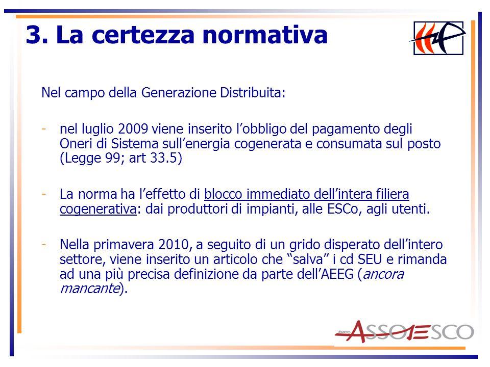Nel campo della Generazione Distribuita: -nel luglio 2009 viene inserito lobbligo del pagamento degli Oneri di Sistema sullenergia cogenerata e consum