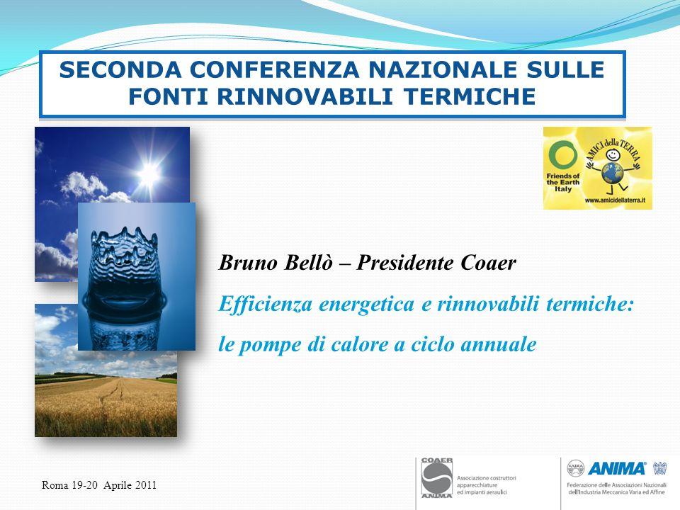 Roma 19-20 Aprile 2011 Bruno Bellò – Presidente Coaer Efficienza energetica e rinnovabili termiche: le pompe di calore a ciclo annuale SECONDA CONFERE