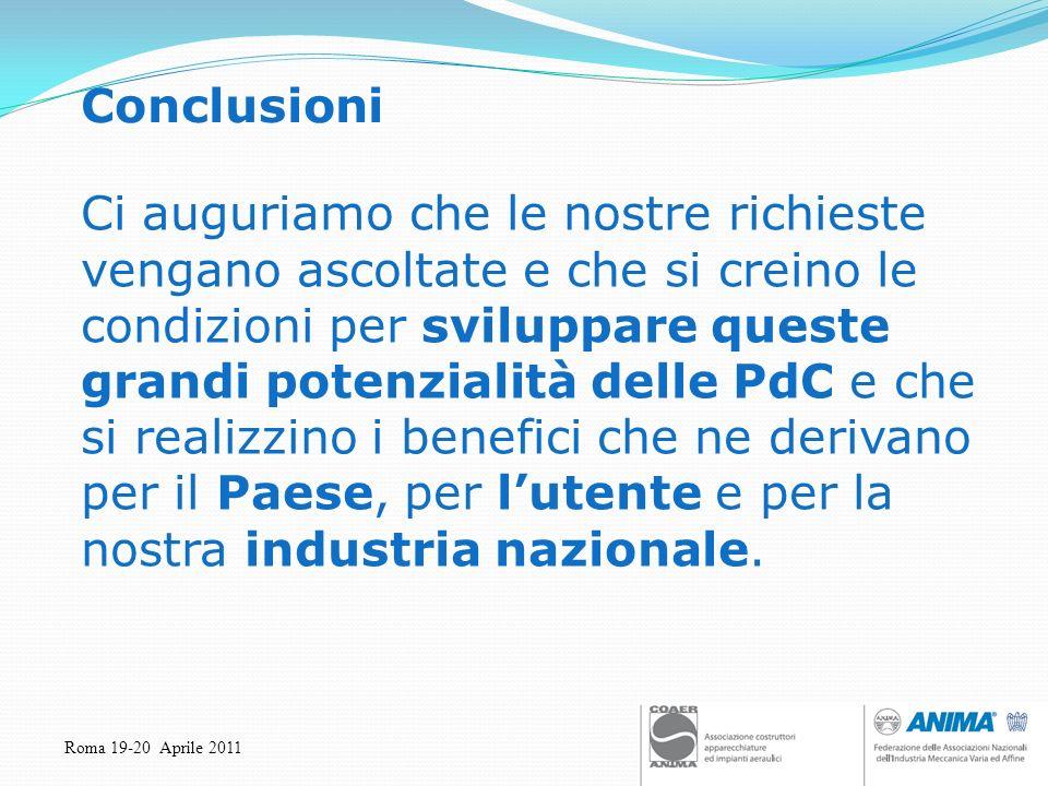 Roma 19-20 Aprile 2011 Conclusioni Ci auguriamo che le nostre richieste vengano ascoltate e che si creino le condizioni per sviluppare queste grandi p