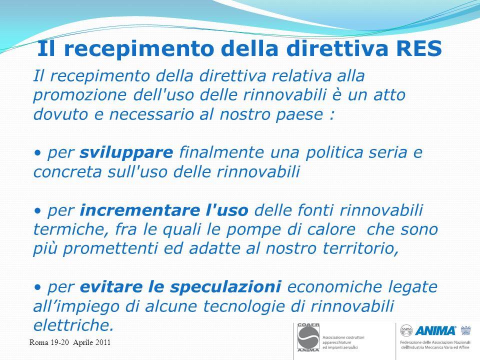 Roma 19-20 Aprile 2011 Il recepimento della direttiva RES Il recepimento della direttiva relativa alla promozione dell'uso delle rinnovabili è un atto