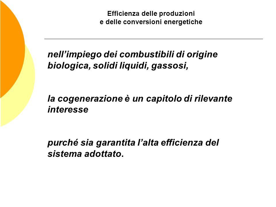 Efficienza delle produzioni e delle conversioni energetiche nellimpiego dei combustibili di origine biologica, solidi liquidi, gassosi, la cogenerazio