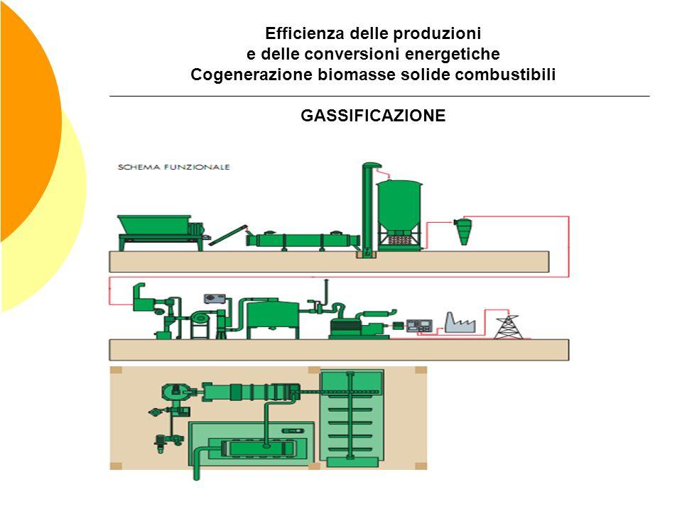 Efficienza delle produzioni e delle conversioni energetiche Cogenerazione biomasse solide combustibili GASSIFICAZIONE