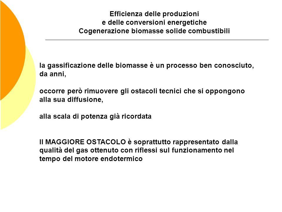 Efficienza delle produzioni e delle conversioni energetiche Cogenerazione biomasse solide combustibili la gassificazione delle biomasse è un processo