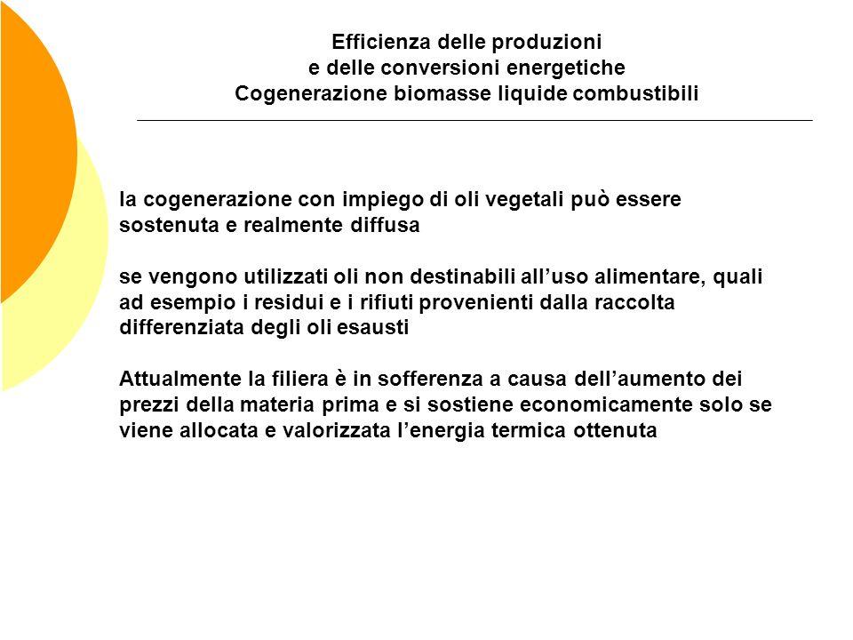 Efficienza delle produzioni e delle conversioni energetiche Cogenerazione biomasse liquide combustibili la cogenerazione con impiego di oli vegetali p