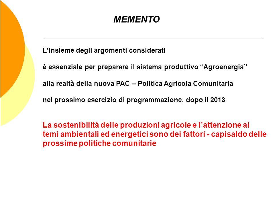 MEMENTO Linsieme degli argomenti considerati è essenziale per preparare il sistema produttivo Agroenergia alla realtà della nuova PAC – Politica Agric