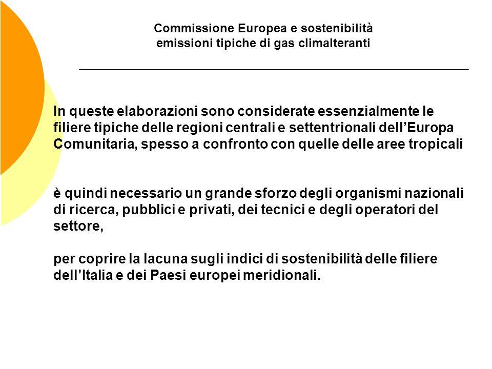 Commissione Europea e sostenibilità emissioni tipiche di gas climalteranti In queste elaborazioni sono considerate essenzialmente le filiere tipiche d