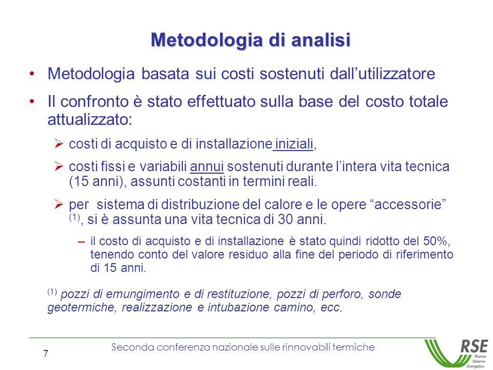 Seconda conferenza nazionale sulle rinnovabili termiche 7 Metodologia di analisi Metodologia basata sui costi sostenuti dallutilizzatore Il confronto