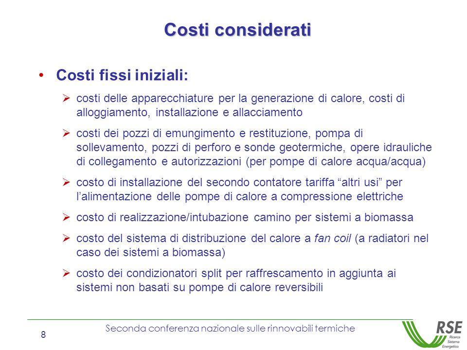 Seconda conferenza nazionale sulle rinnovabili termiche 8 Costi fissi iniziali: costi delle apparecchiature per la generazione di calore, costi di all