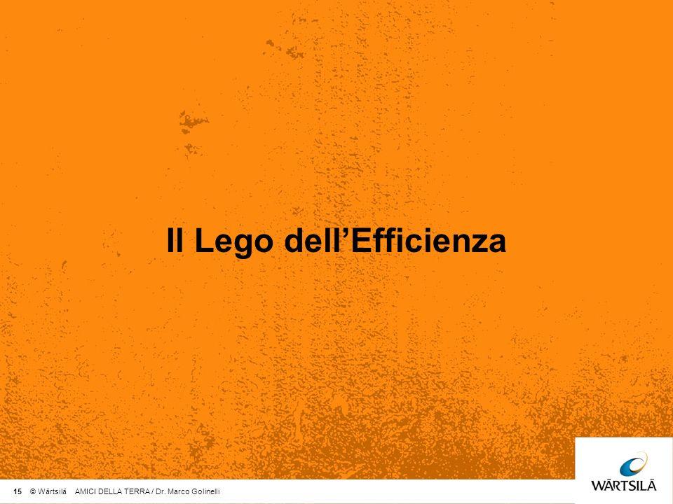 15 © Wärtsilä AMICI DELLA TERRA / Dr. Marco Golinelli Il Lego dellEfficienza