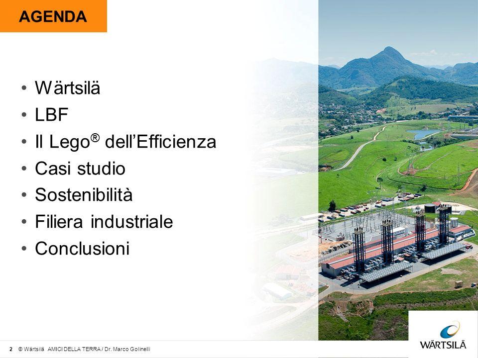 LBF Worlds Largest plant Italgreen Energy - Monopoli Motogeneratori6x 18V46 Potenza Elettrica102.457 kWe Potenza Termica41.796 kWth Ciclo Combinato (turbina a vapore) 12.653 kWe Efficienza Elettrica Totale 50% 23 © Wärtsilä AMICI DELLA TERRA / Dr.