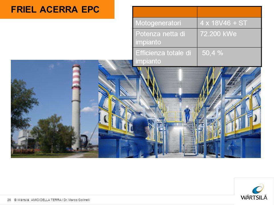 FRIEL ACERRA EPC Motogeneratori4 x 18V46 + ST Potenza netta di impianto 72.200 kWe Efficienza totale di impianto 50,4 % 26 © Wärtsilä AMICI DELLA TERRA / Dr.
