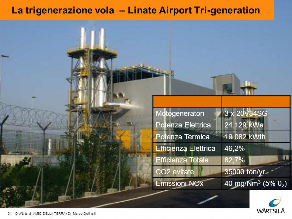 La trigenerazione vola – Linate Airport Tri-generation Motogeneratori3 x 20V34SG Potenza Elettrica24.129 kWe Potenza Termica19.082 kWth Efficienza Elettrica46,2% Efficienza Totale82,7% CO2 evitate35000 ton/yr Emissioni NOx40 mg/Nm 3 (5% 0 2 ) 31 © Wärtsilä AMICI DELLA TERRA / Dr.