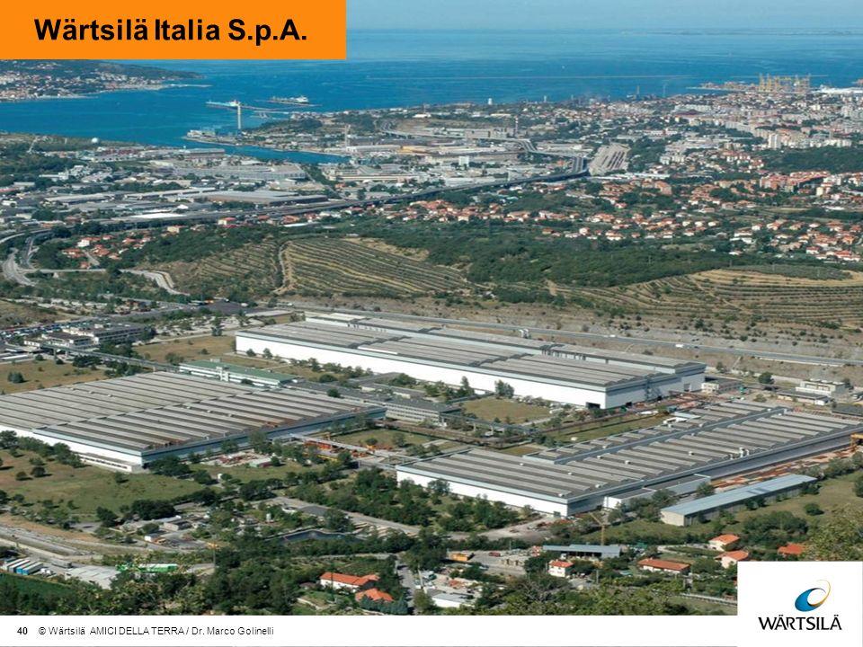 Wärtsilä Italia S.p.A. 40 © Wärtsilä AMICI DELLA TERRA / Dr. Marco Golinelli