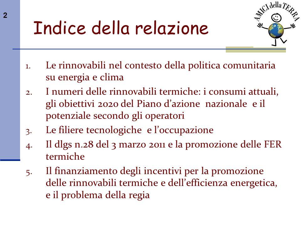 3 I principali provvedimenti e relativi obiettivi quantitativi (GUCE del 5 giugno 2009): 1) Direttiva 2009/29/CE sulla promozione delluso di fonti rinnovabili.