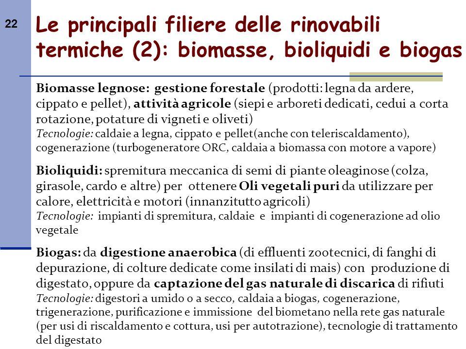 22 Le principali filiere delle rinovabili termiche (2): biomasse, bioliquidi e biogas Biomasse legnose: gestione forestale (prodotti: legna da ardere,