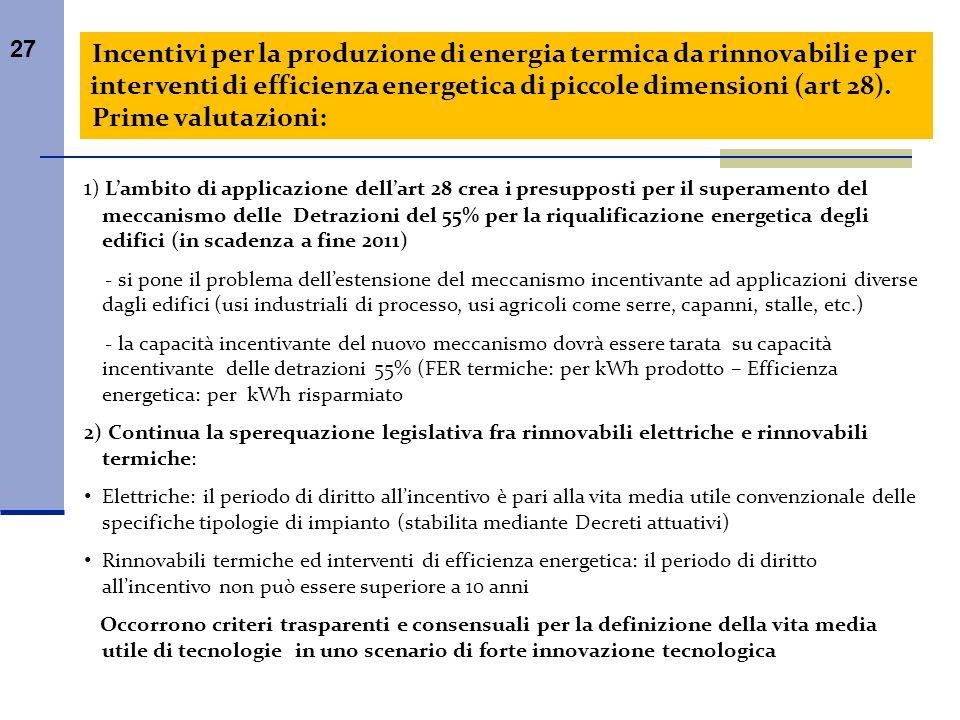 27 Incentivi per la produzione di energia termica da rinnovabili e per interventi di efficienza energetica di piccole dimensioni (art 28). Prime valut