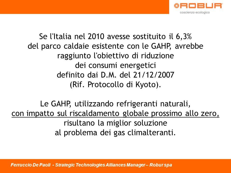 Se l'Italia nel 2010 avesse sostituito il 6,3% del parco caldaie esistente con le GAHP, avrebbe raggiunto l'obiettivo di riduzione dei consumi energet