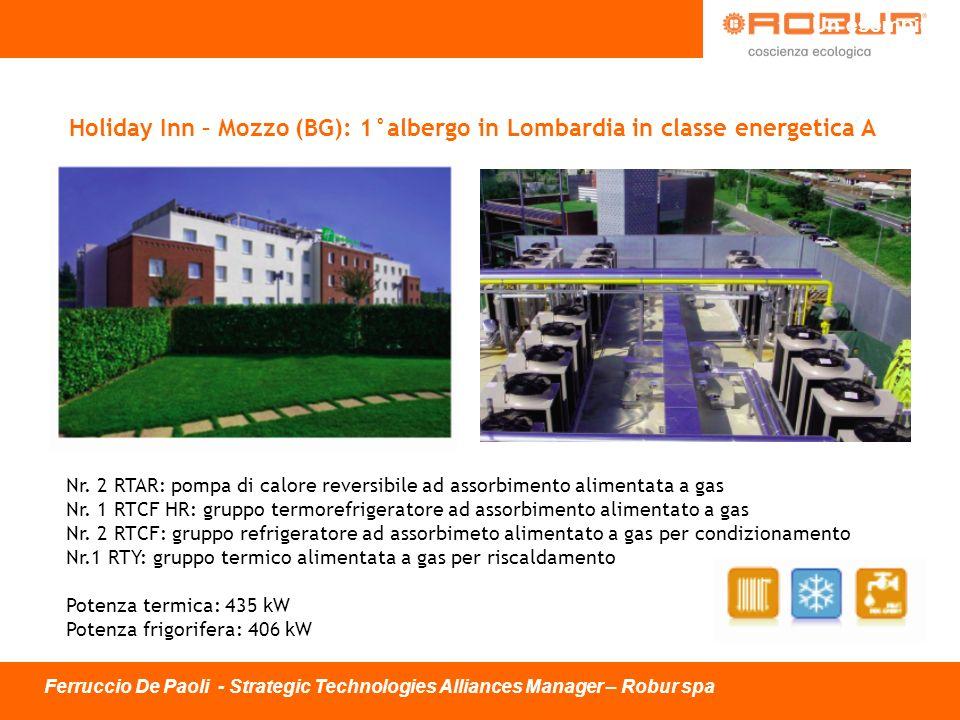 Holiday Inn – Mozzo (BG): 1°albergo in Lombardia in classe energetica A Nr. 2 RTAR: pompa di calore reversibile ad assorbimento alimentata a gas Nr. 1