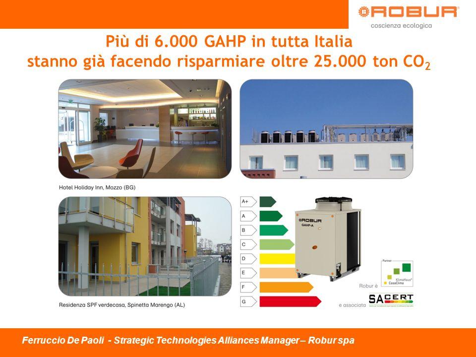 Ferruccio De Paoli - Strategic Technologies Alliances Manager – Robur spa Più di 6.000 GAHP in tutta Italia stanno già facendo risparmiare oltre 25.00
