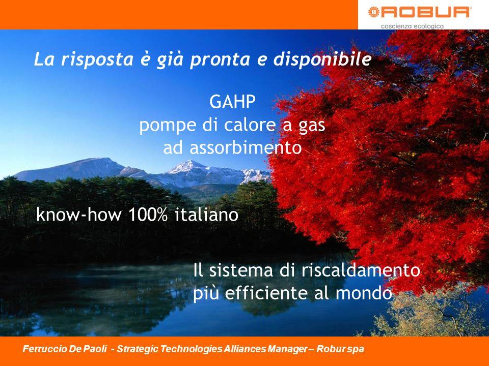 Il sistema di riscaldamento più efficiente al mondo know-how 100% italiano La risposta è già pronta e disponibile GAHP pompe di calore a gas ad assorb
