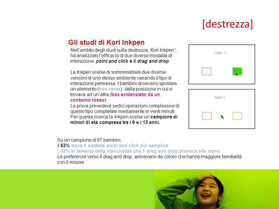 Gli studi di Kori Inkpen Nellambito degli studi sulla destrezza, Kori Inkpen*, ha analizzato lefficacia di due diverse modalità di interazione: point and click e il drag and drop.