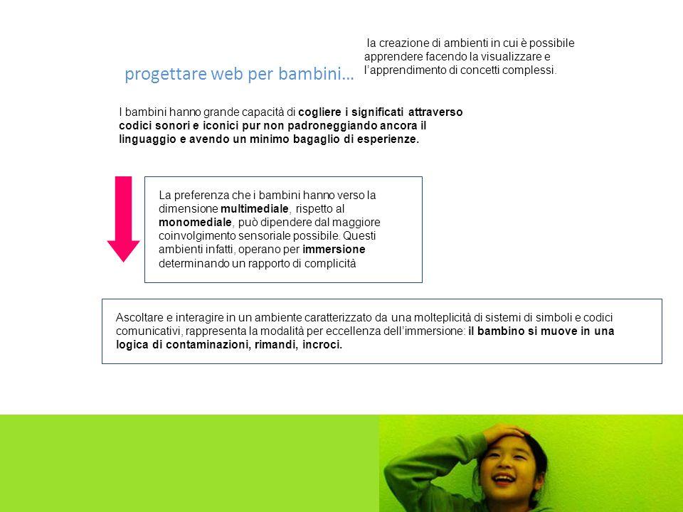 Molte delle scelte compiute nella realizzazione di ambienti rivolti a minori non ancora in grado di leggere, rappresentano un utile suggerimento per la progettazione di ambienti basati su stimoli alternativi a quelli offerti dal testo.