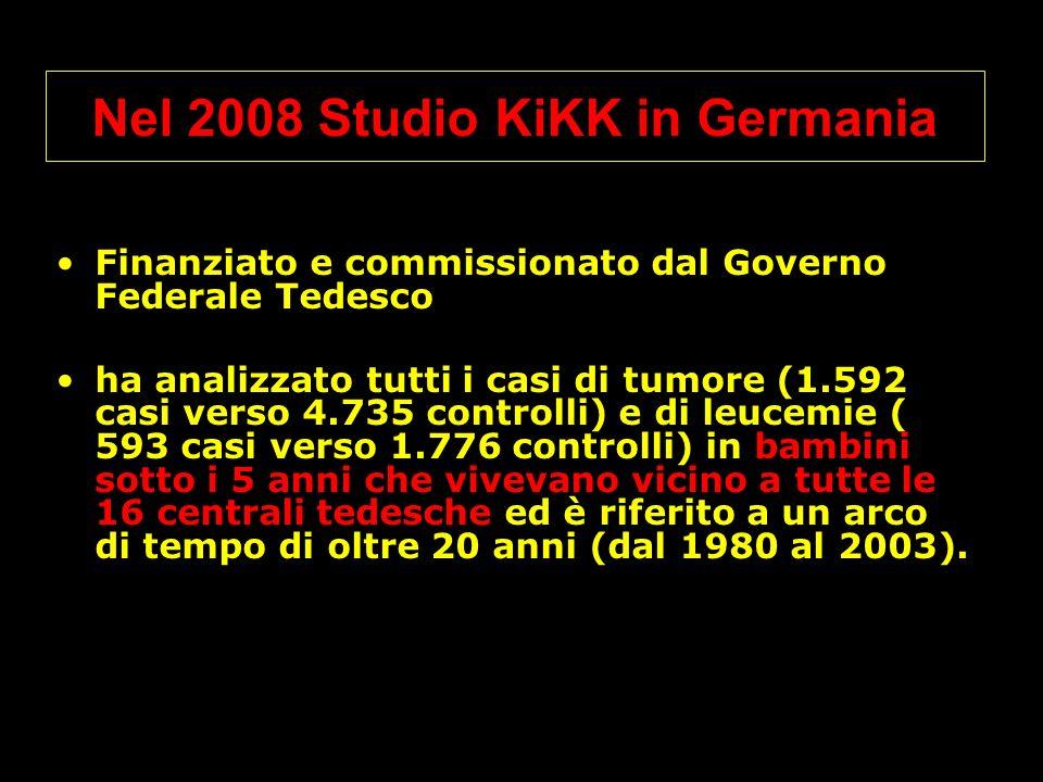 Nel 2008 Studio KiKK in Germania Finanziato e commissionato dal Governo Federale Tedesco ha analizzato tutti i casi di tumore (1.592 casi verso 4.735