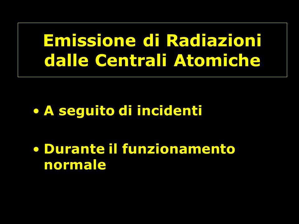Emissione di Radiazioni dalle Centrali Atomiche A seguito di incidenti Durante il funzionamento normale