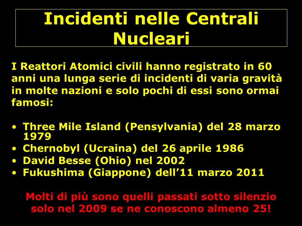 Incidenti nelle Centrali Nucleari I Reattori Atomici civili hanno registrato in 60 anni una lunga serie di incidenti di varia gravità in molte nazioni