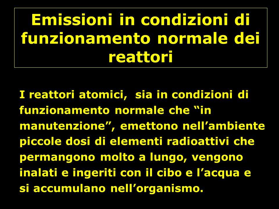 Emissioni in condizioni di funzionamento normale dei reattori I reattori atomici, sia in condizioni di funzionamento normale che in manutenzione, emet